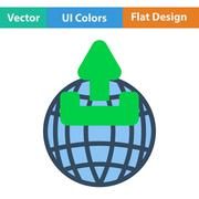 Globe with upload symbol icon Stock Illustration