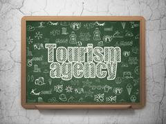 Tourism concept: Tourism Agency on School board background - stock illustration