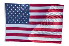Usa American flag stars and stripes on the white background Stock Photos