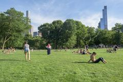 NEW YORK - USA - 14 JUNE 2015 people is spending time amusing in central park Stock Photos