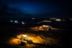 Open-cast coal mining in Germany in the evening Stock Photos
