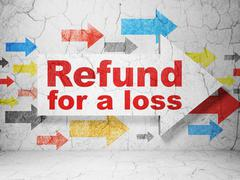Insurance concept: arrow with Refund For A Loss on grunge wall background Stock Illustration