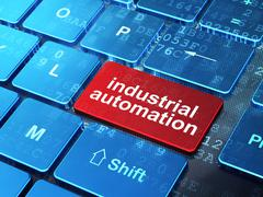Manufacuring concept: Industrial Automation on computer keyboard background Stock Illustration