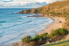 kangaroo island sanbdy beach panorama at sunset - stock photo