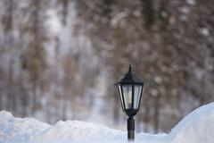 lampost covered by snow - stock photo