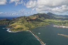 Kauai hawaii island mountains and canyon aerial view from helicopter Stock Photos