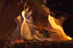 wood embers detail - stock photo