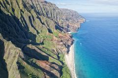 kauai napali coast aerial view from helicopter - stock photo