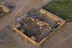 Maroc settlement in the desert near Marrakech aerial view Kuvituskuvat