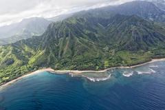 Kauai napali coast aerial view from helicopter Stock Photos