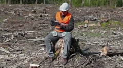 Environmental inspector take pictures in the destroyed forest Stock Footage