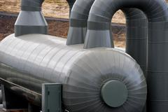 A pipeline in the heating geo thermal farm in Iceland Stock Photos