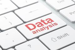 Data concept: Data Analysis on computer keyboard background Stock Illustration