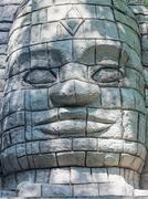 Maya Aztec style stone statue detail Stock Photos