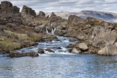 Pingvellir Iceland earth fracture landscape - stock photo