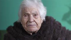 Very old woman wrinkled face  Stock Footage