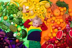 Healthy fruit and vegetable nutrition for kids - stock photo