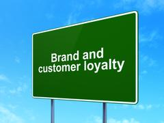 Finance concept: Brand and Customer loyalty on road sign background Stock Illustration