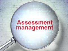 Finance concept: Assessment Management with optical glass Stock Illustration