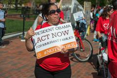 WASHINGTON D.C., USA - MAY, 2 2014 -  Immigrant  are protesting against presi Stock Photos