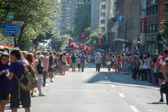 MONTREAL, CANADA - AUGUST, 18 2013 - Gay Pride parade on town street - stock photo