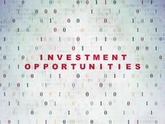 Finance concept: Investment Opportunities on Digital Data Paper background - stock illustration