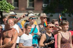 MONTREAL, CANADA - AUGUST, 18 2013 - Gay Pride parade on town street Stock Photos