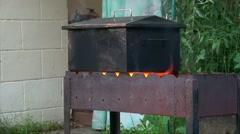 Cooking In Smoke Box, Man On Background, Medium Shoot - stock footage