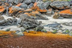 white sand iron yellow river in Australia Kangaroo Island - stock photo