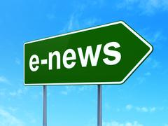 News concept: E-news on road sign background - stock illustration