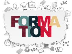 Studying concept: Formation on Torn Paper background - stock illustration