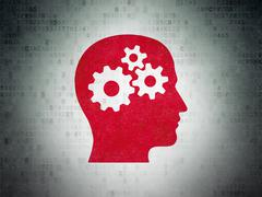 Studying concept: Head With Gears on Digital Data Paper background - stock illustration