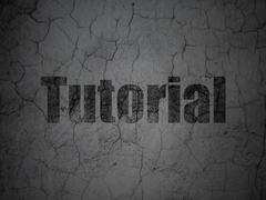 Studying concept: Tutorial on grunge wall background - stock illustration