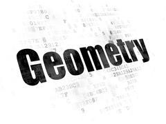 Studying concept: Geometry on Digital background - stock illustration