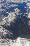 Alps Aerial View from airplane - stock photo
