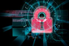 rendering of a futuristic cyber background target with laser light effect - stock illustration