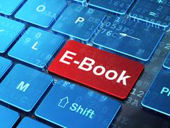 Studying concept: E-Book on computer keyboard background Stock Illustration