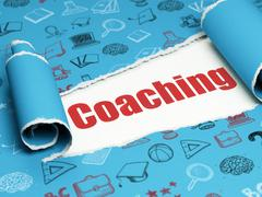 Learning concept: red text Coaching under the piece of  torn paper - stock illustration