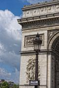 Paris arc de triomphe detail on sunny day Stock Photos