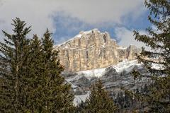 Italian Dolomites huge panorama view in winter snow time - stock photo