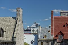 quebec city roofs detail close up view - stock photo