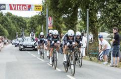Plumelec, France - 12 July, 2015: Team Etixx-Quick Step - Tour de France 2015 - stock photo
