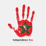 Handprint with the Flag of Morocco in grunge style - stock illustration