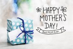 Happy Mothers Day message with gift box - stock photo