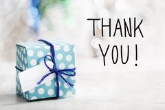 Thank You message with gift box - stock photo