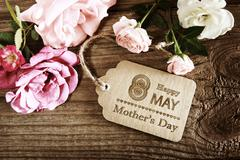 Mothers Day message with small pink roses Stock Photos