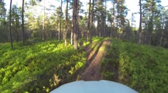 Riding lush trail - stock footage