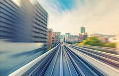 High speed technology concept via the Kobe Portliner Monorail - stock photo