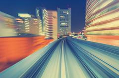 High speed technology concept via a Tokyo monorail Stock Photos