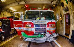ALEXANDRIA - USA - 19 JUNE 2015 Fireman wagon ready to intervene - stock photo